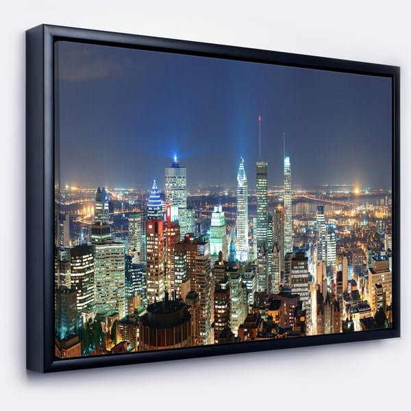 Designart 'Montreal at Dusk Panorama' Landscape Framed Canvas Art Print