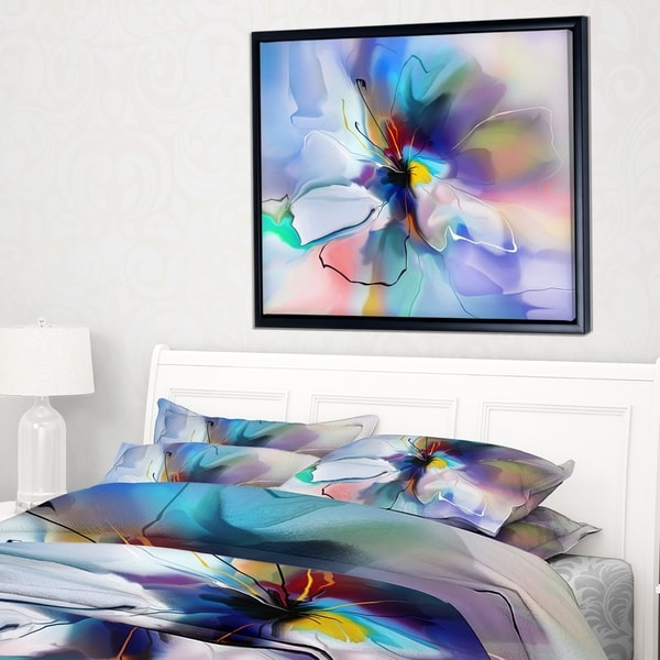 Designart 'Abstract Creative Blue Flower' Extra Large Floral Framed Canvas Art