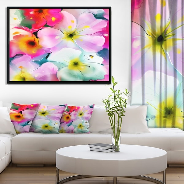 Designart 'Colorful Watercolor Floral Pattern' Extra Large Floral Framed Canvas Art