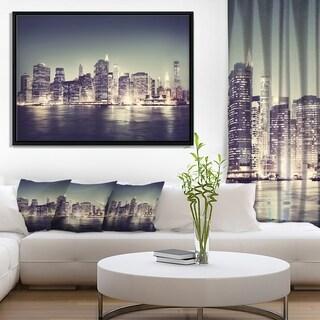 Designart 'Black and White NYC Night Panorama' Extra Large Framed Canvas Art Print