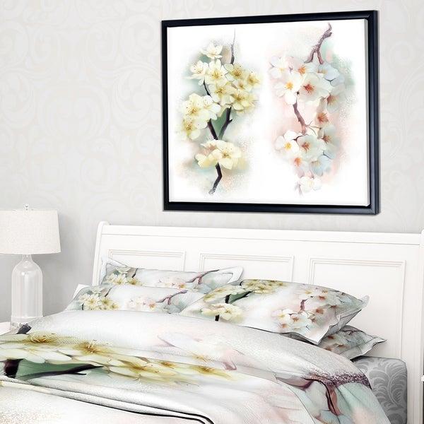 Designart 'White Flower Bouquet Illustration' Extra Large Floral Framed Canvas Art