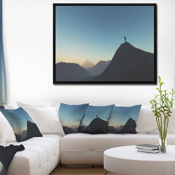 Designart 'Man Looking from Mountain' Landscape Framed Canvas Art Print