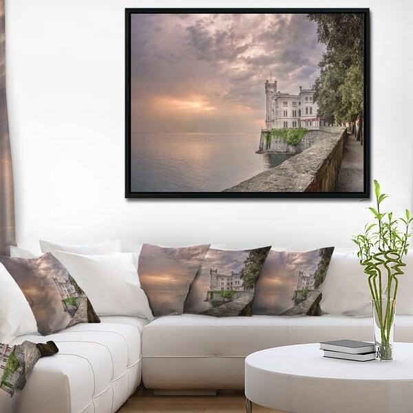 Designart 'Miramare Castle at Sunset' Landscape Framed Canvas Art Print
