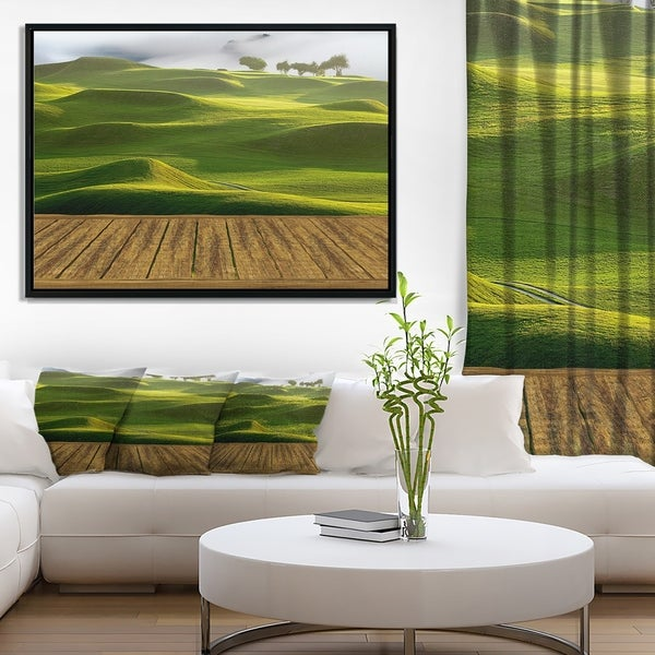 Designart 'Golf Course with Wooden Path' Landscape Framed Canvas Art Print