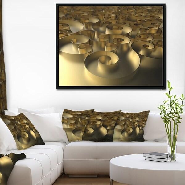 Designart 'Golden Curly Abstract 3D Design' Abstract Framed Canvas Art Print