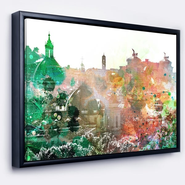 Designart 'Colorful City Watercolor' Landscape Framed Canvas Art Print