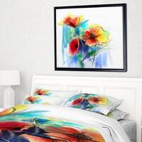 Designart 'Watercolor Multi color Flower Illustration' Large Floral Framed Canvas Art Print