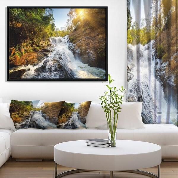 Designart 'Waterfall through the Forest' Landscape Framed Canvas Art Print