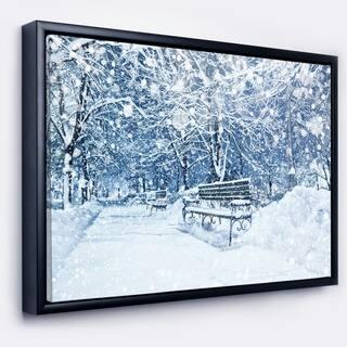 Designart 'City Covered with Snow' Landscape Framed Canvas Art Print