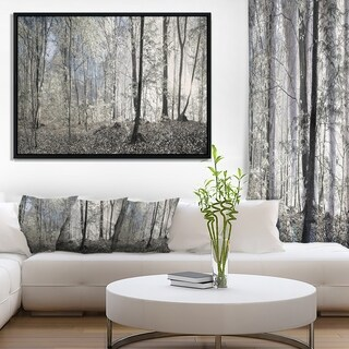 Designart 'Dark Morning in Forest Panorama' Landscape Framed Canvas Art Print