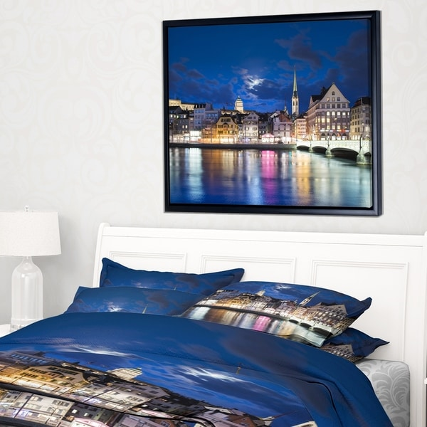 Designart 'Scenic Panorama of Old Town' Landscape Framed Canvas Art Print