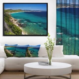 Designart 'Beautiful Greek Beach of Sea' Seashore Framed Canvas Art Print