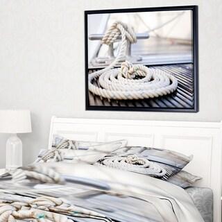 Designart 'White Nautical Mooring Rope' Modern Landscape Framed Canvas Art