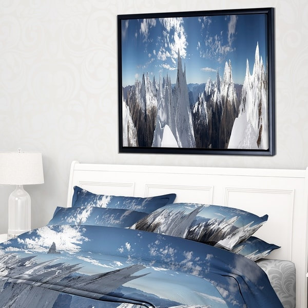 Designart 'Beautiful Summit Panorama' Landscape Framed Canvas Art Print