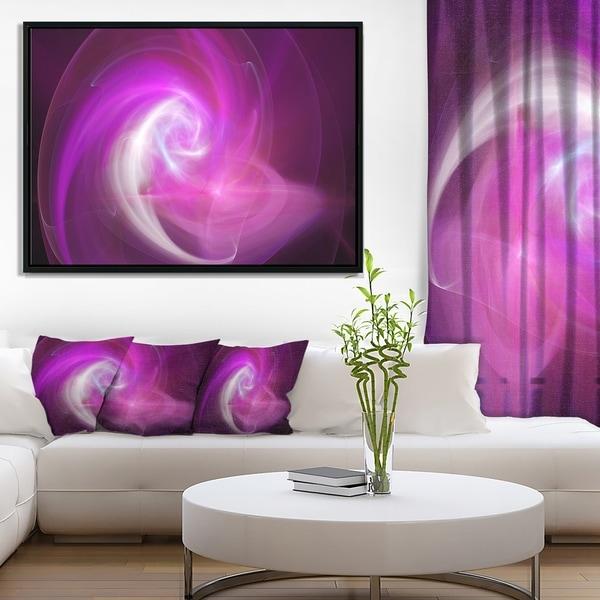 Designart 'Pink Fractal Abstract Illustration' Abstract Framed Canvas Wall Art