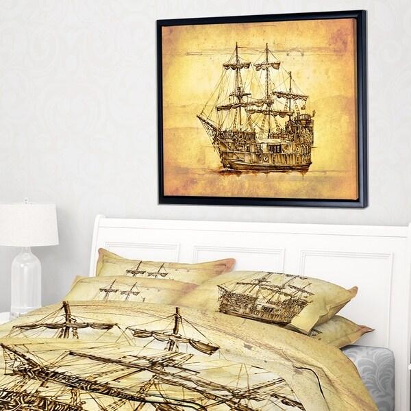 Designart 'Brown Ancient Moving Boat' Seashore Wall Art on Framed Canvas