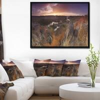 Designart 'Rural Autumn Sunset Panorama' Landscape Framed Canvas Art Print