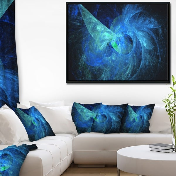 Designart 'Blue on Dark Fractal Illustration' Abstract Framed Canvas Art Print