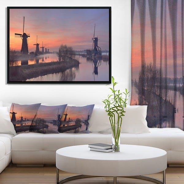 Designart 'Windmills at Sunrise Panorama' Landscape Framed Canvas Art Print