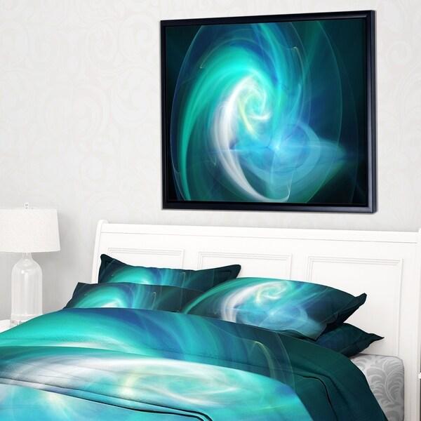 Designart 'Blue Fractal Abstract Illustration' Abstract Framed Canvas Wall Art