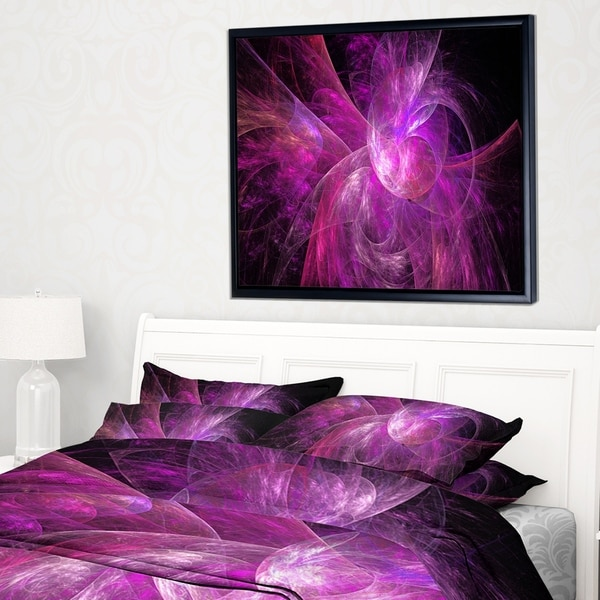 Designart 'Purple Fractal Abstract Illustration' Abstract Framed Canvas Art Print