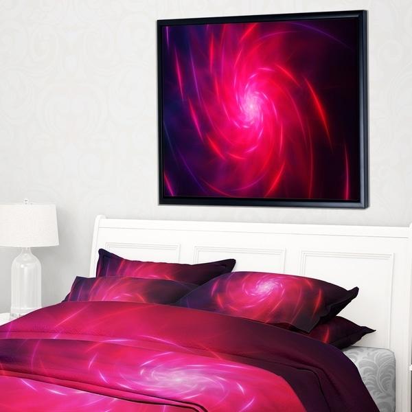 Designart 'Pink Whirlpool Fractal Spirals' Abstract Art on Framed Canvas