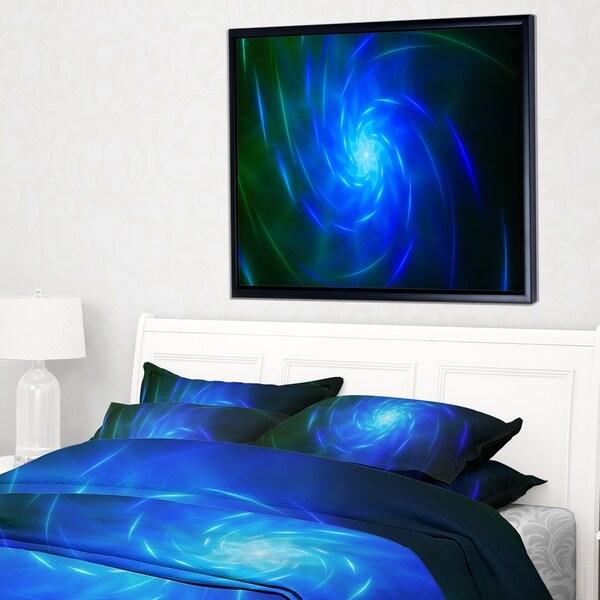 Designart 'Blue Fractal Whirlpool Design' Abstract Wall Art Framed Canvas
