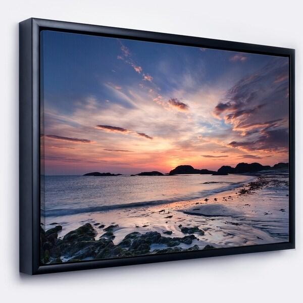 Designart 'Dramatic Sky at Sunset on Isle of Iona' Seashore Framed Canvas Art Print