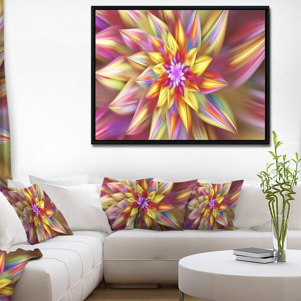 Designart 'Large Multi Color Alien Fractal Flower' Floral Framed Canvas Art Print