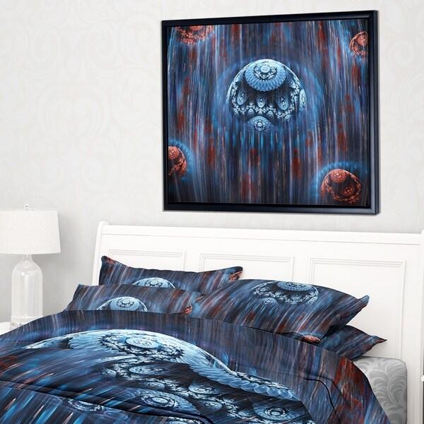 Designart 'Blue World of Infinite Universe' Abstract Framed Canvas Art Print