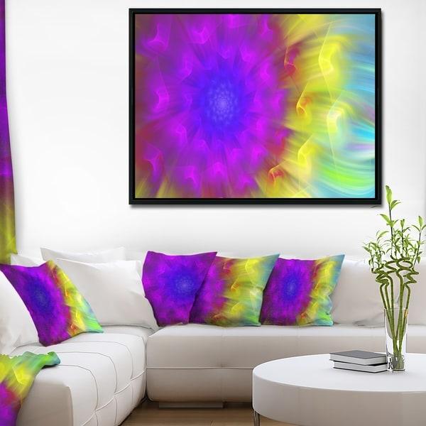 Designart 'Purple Fractal Petals Dandelion' Floral Framed Canvas Art Print