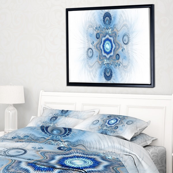 Designart 'Cabalistic Blue Star Flower' Abstract Framed Canvas Art Print