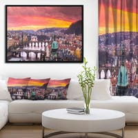 Designart 'Bridges in Prague Panorama' Landscape Framed Canvas Art Print