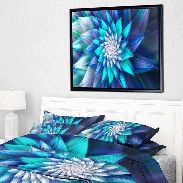 Designart 'Large Blue Alien Fractal Flower' Floral Framed Canvas Art Print