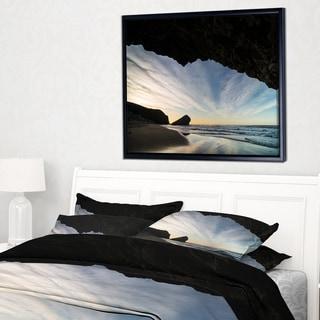 Designart 'Monsul Beach during Sunset' Large Seashore Framed Canvas Art Print