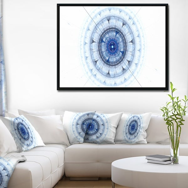 Designart 'Cabalistic Blue Fractal Sphere' Abstract Framed Canvas Art Print