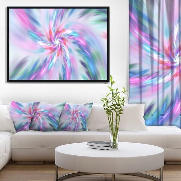 Designart 'Exotic Light Blue Flower Petal Dance' Floral Framed Canvas Art Print