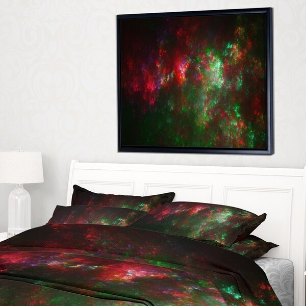 Designart 'Multi Color Starry Fractal Sky' Abstract Framed Canvas Art Print