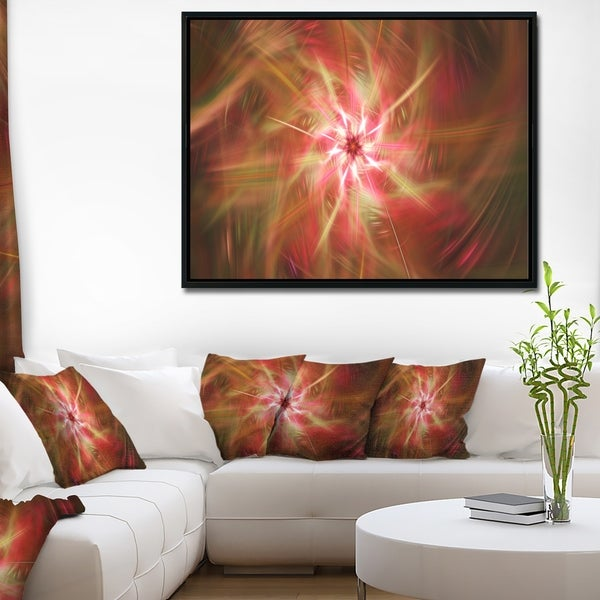 Designart 'Rotating Brown Bright Fireworks' Floral Framed Canvas Art Print