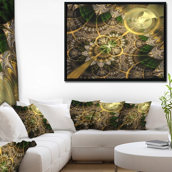 Designart 'Dark Green and Gold Fractal Flower' Floral Framed Canvas Art Print