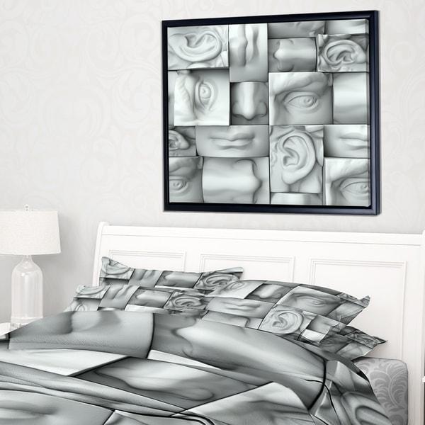 Designart 'Abstract White Blocks' Abstract Framed Canvas Art Print