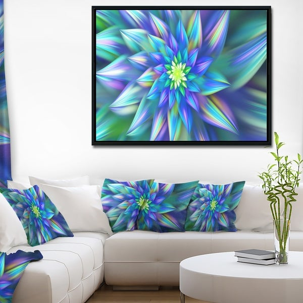 Designart 'Huge Light Blue Fractal Flower' Floral Framed Canvas Art Print