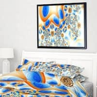 Designart 'Yellow Blue Exotic Pattern' Abstract Wall Art Framed Canvas