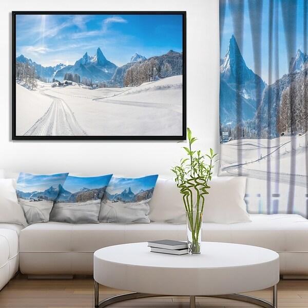 Designart 'Winter in Bavarian Alps Panorama' Landscape Framed Canvas Art Print