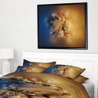 Designart 'Small Macro Prickly Texture Brown' Abstract Framed Canvas Wall Art