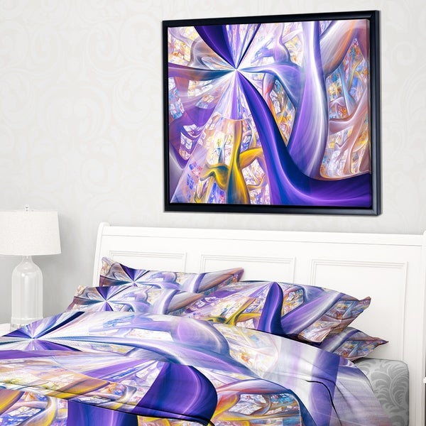 Designart 'Purple Gold Fractal Plant Stems' Abstract Framed Canvas Art Print
