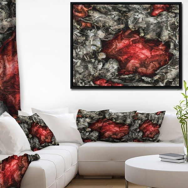 Designart 'Abstract Floral Texture Background' Large Abstract Framed Canvas Artwork