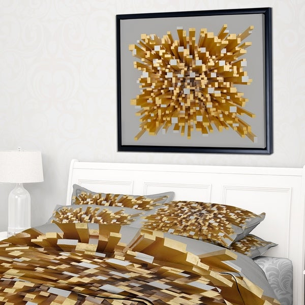 Shop Designart \'Golden Fragments 3D Design\' Abstract Framed Canvas ...