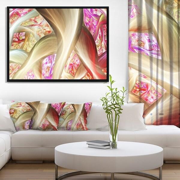 Designart 'Golden Red Fractal Plant Stems' Abstract Framed Canvas Art Print