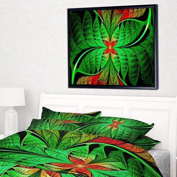 Designart 'Fractal Green Leaf Design' Abstract Framed Canvas Art Print